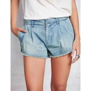 Free People Pleated Light Denim Cutoff Shorts 30